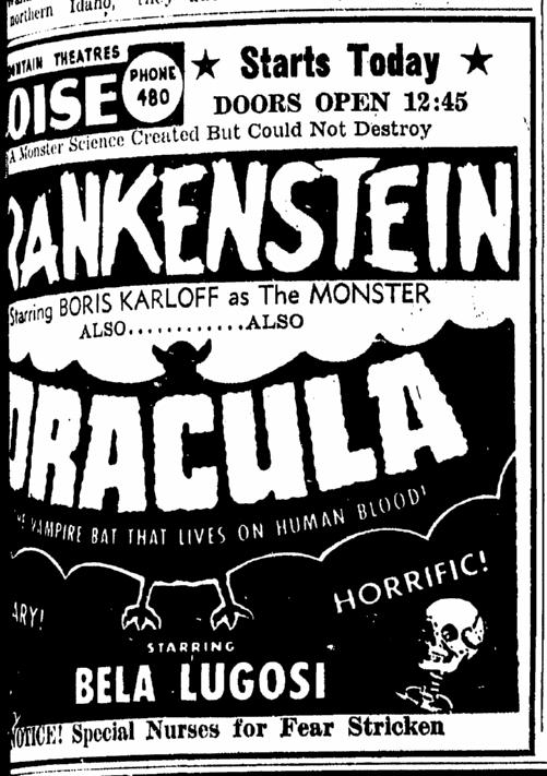 Dracula Frankenstein Double-Bill Idaho Statesman, May 29, 1952