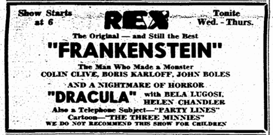 Dracula & Frankenstein Double-Bill, Rockford Register-Republic, September 20, 1949