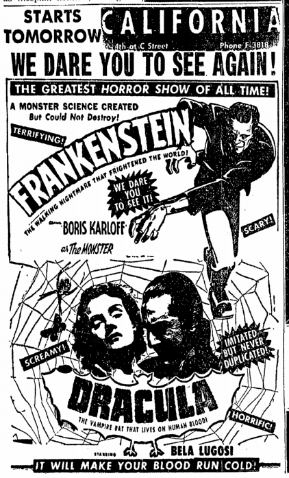 Dracula Frankenstein Double-Bill San Diego Union, June 11, 1952