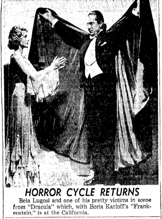 Dracula Frankenstein Double-Bill San Diego Union, June 14, 1952 2