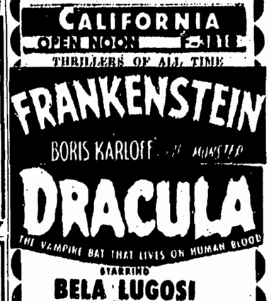 Dracula Frankenstein Double-Bill San Diego Union, June 14, 1952