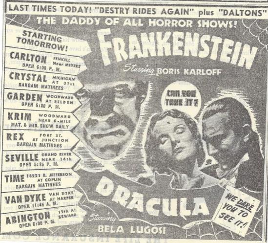 Dracula & Frankenstein Double Bill September 1947 2