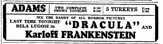 Dracula Frankenstein, Evening Star, November 18, 1938