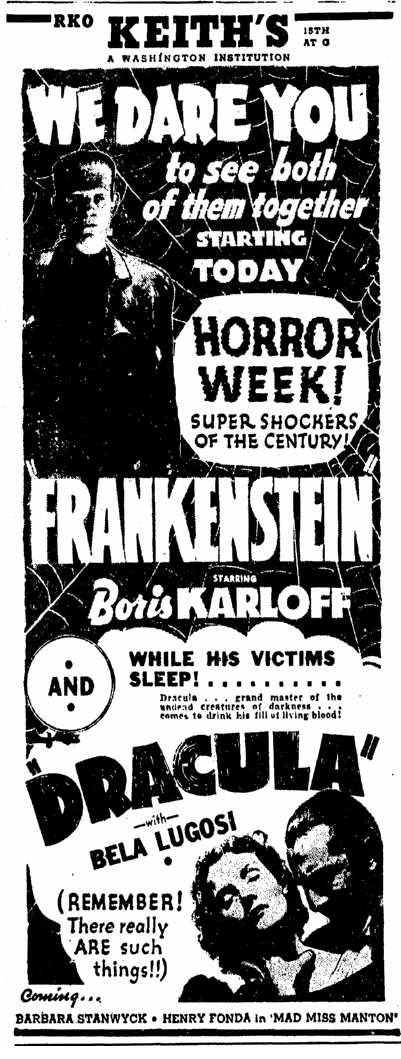 Dracula Frankenstein, Evening Star, November 3, 1938 2