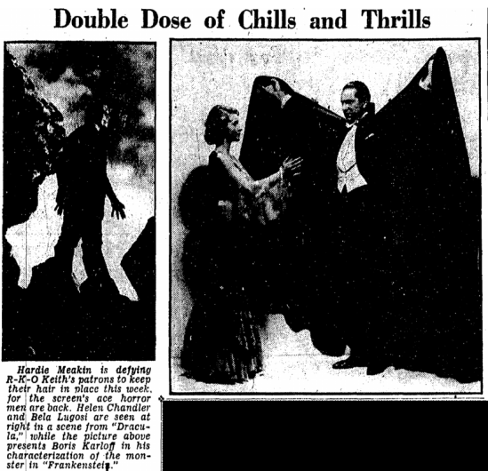 Dracula Frankenstein, Evening Star, November 3, 1938