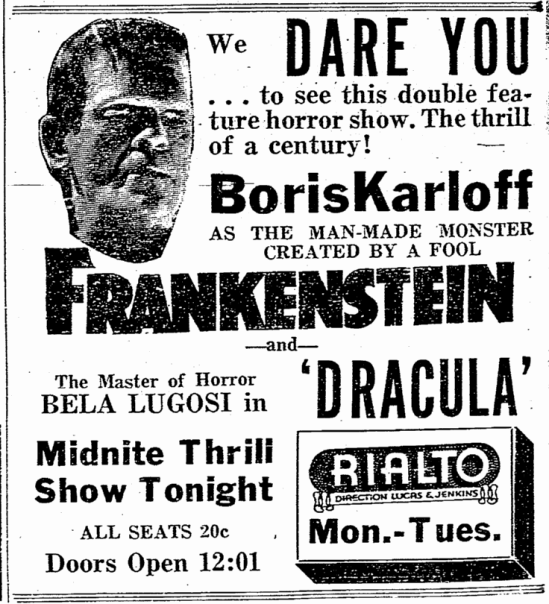 Dracula Frankenstein, Macon Telegraph, January 15, 1939