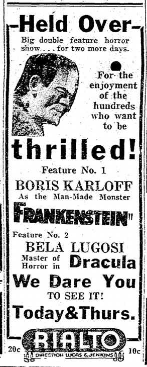 Dracula Frankenstein, Macon Telegraph, January 18, 1939