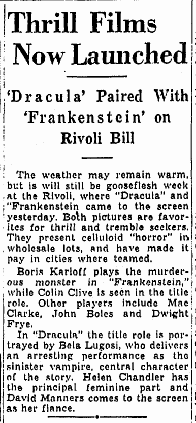 Dracula Frankenstein, Oregonian, September 17, 1938