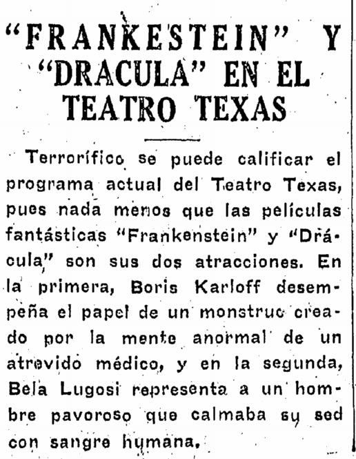Dracula Frankenstein, Prensa, November 13, 1938
