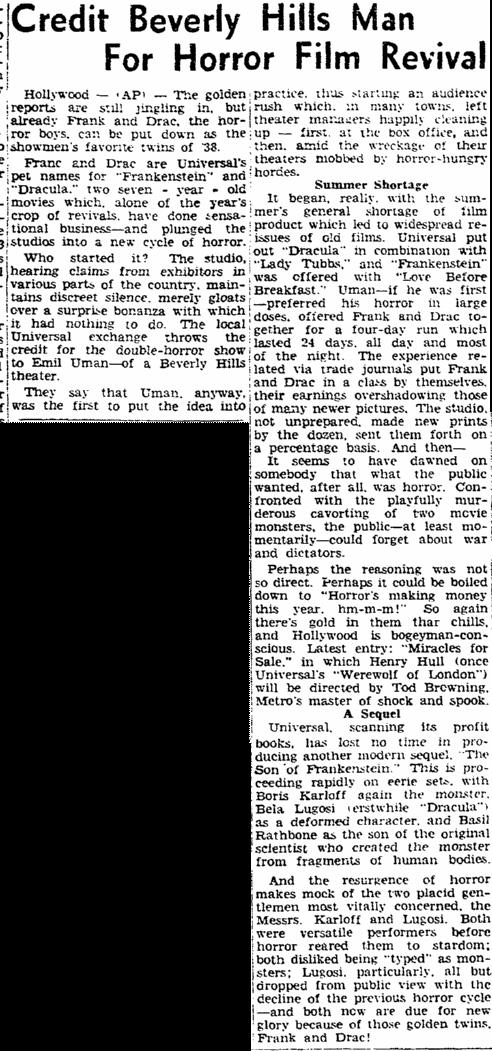 Dracula Frankenstein, Rockford Register-Republic, December 10, 1938