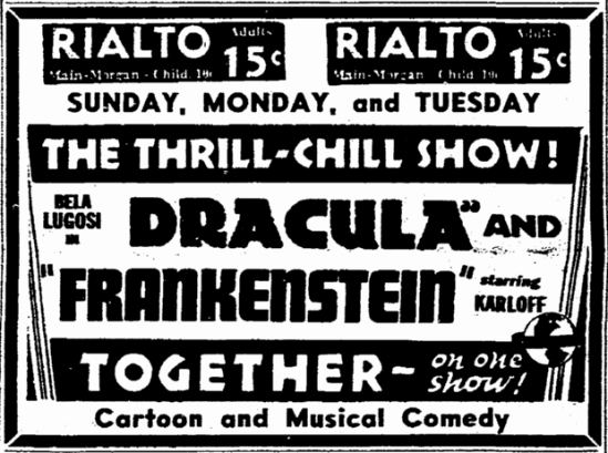 Dracula Frankenstein, Rockford Register-Republic, February 18, 1939