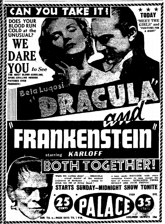 Dracula Frankenstein, Rockford Register-Republic, October 14, 1938 2