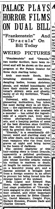 Dracula Frankenstein, Rockford Register-Republic, October 14, 1938 3