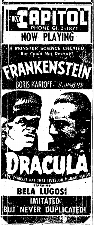 Dracula Frankenstein, Sacremento Bee, May 14, 1952