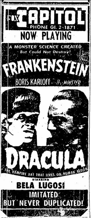 Dracula Frankenstein, Sacremento Bee, May 14, 1952