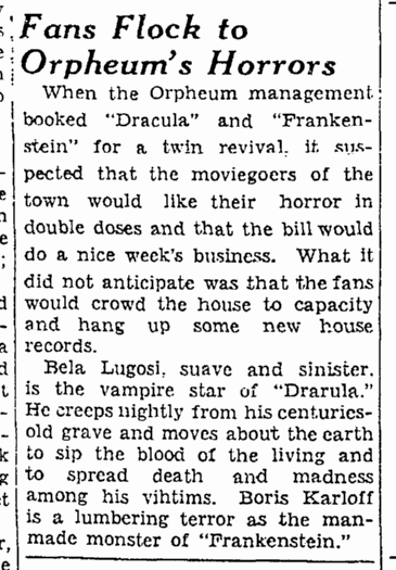 Dracula Frankenstein, San Francisco Chronicle, October 11, 1938
