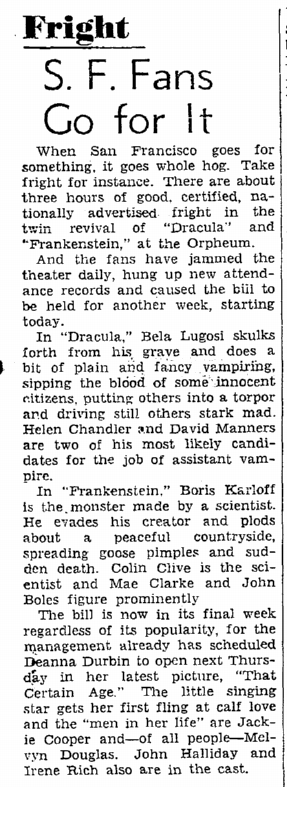 Dracula Frankenstein, San Francisco Chronicle, October 13, 1938