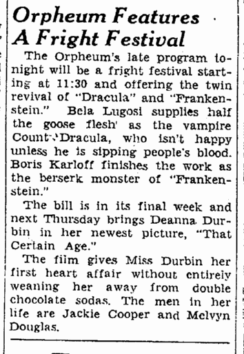 Dracula Frankenstein, San Francisco Chronicle, October 15, 1938