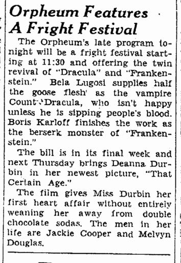 Dracula Frankenstein, San Francisco Chronicle, October 15, 1938