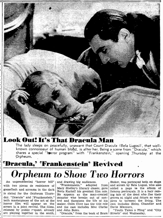 Dracula Frankenstein, San Francisco Chronicle, October 3, 1938