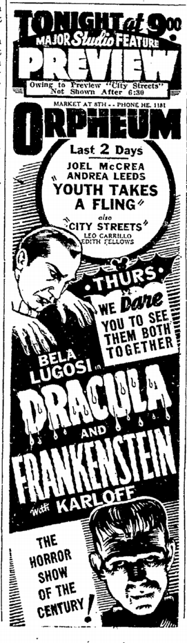 Dracula Frankenstein, San Francisco Chronicle, October 4, 1938