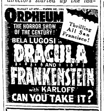 Dracula Frankenstein, San Francisco Chronicle, October 7, 1938 2