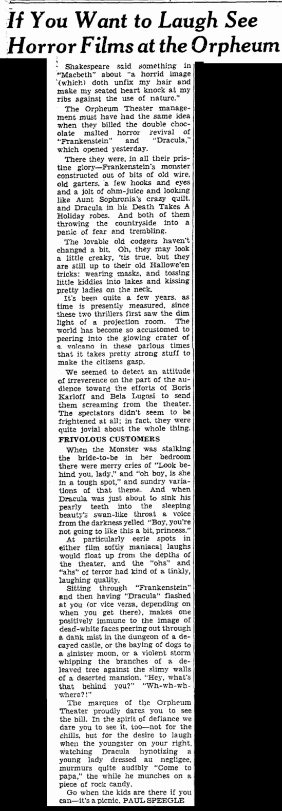 Dracula Frankenstein, San Francisco Chronicle, October 7, 1938