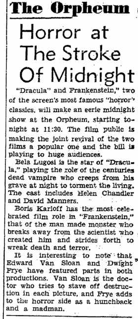 Dracula Frankenstein, San Francisco Chronicle, October 8, 1938 2