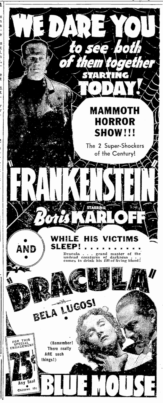 Dracula Frankenstein, Seattle Daily Times, August 24, 1938