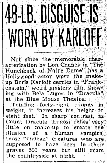 Dracula Frankenstein, Seattle Daily Times, August 26 1938