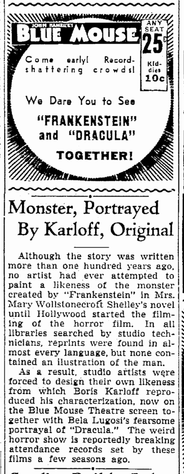 Dracula Frankenstein, Seattle Daily Times, August 27, 1938