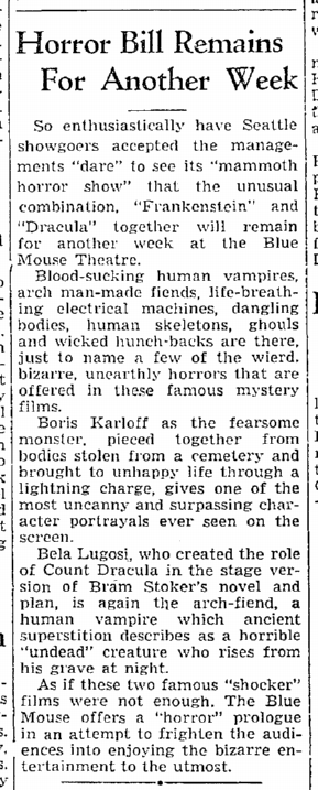 Dracula Frankenstein, Seattle Daily Times, August 31, 1938 2