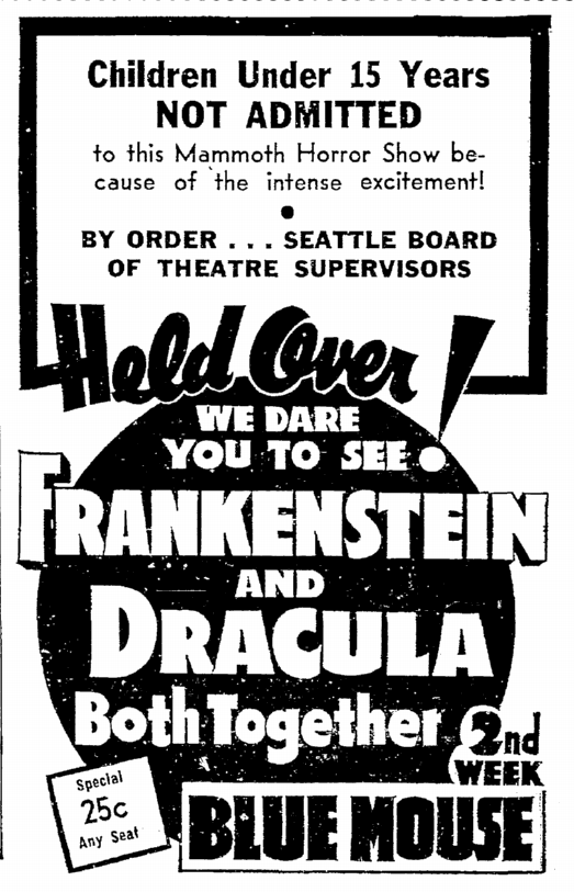 Dracula Frankenstein, Seattle Daily Times, August 31, 1938