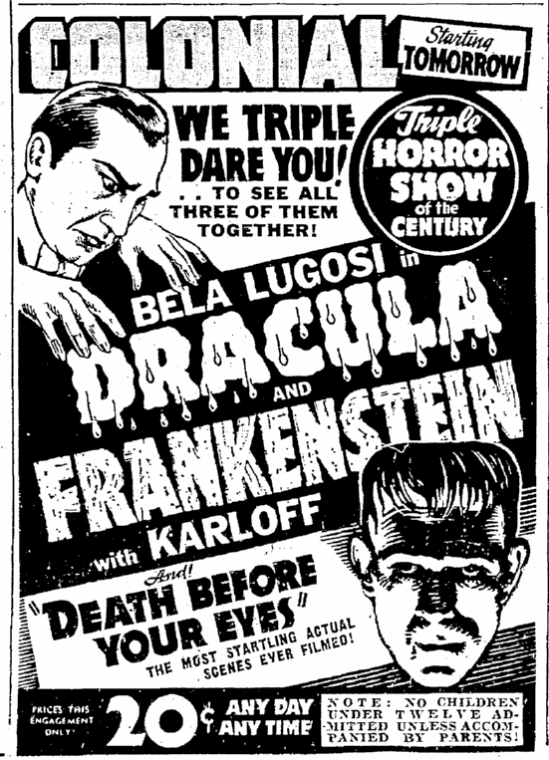 Dracula Frankenstein, Seattle Daily Times, October 25, 1938