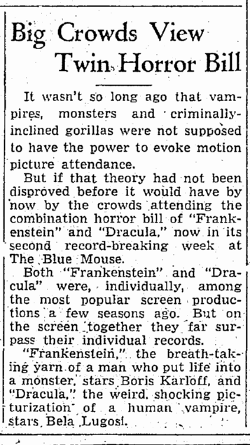 Dracula Frankenstein, Seattle Daily Times, September 1, 1938