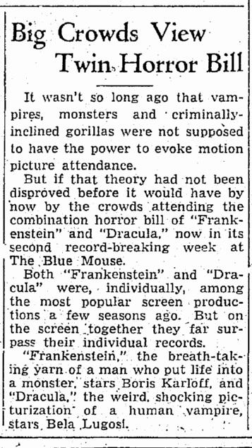 Dracula Frankenstein, Seattle Daily Times, September 1, 1938