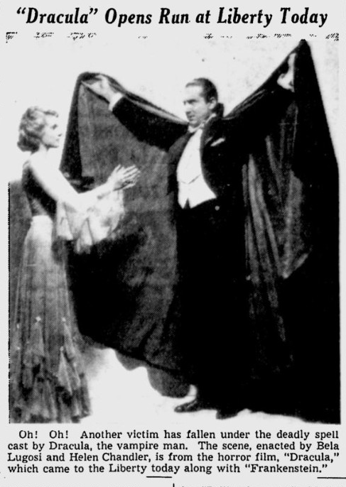 Dracula Frankenstein Spokane Daily Chronicle, September 2, 1938 1