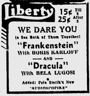 Dracula Frankenstein Spokane Daily Chronicle, September 3, 1938