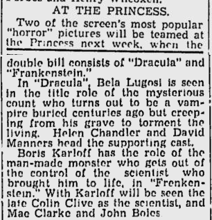 Dracula & Frankenstein The Montreal Gazette, November 16, 1938
