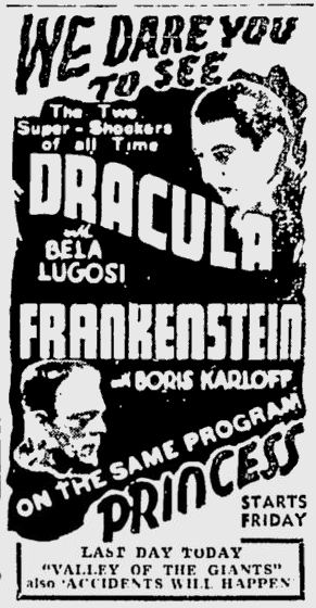 Dracula & Frankenstein The Montreal Gazette, November 17, 1938