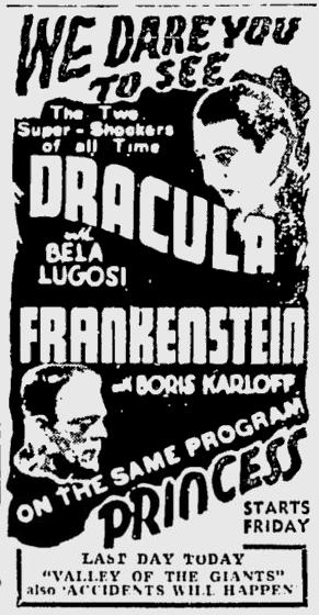 Dracula & Frankenstein The Montreal Gazette, November 17, 1938