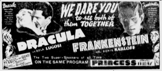 Dracula & Frankenstein The Montreal Gazette, November 18, 1938