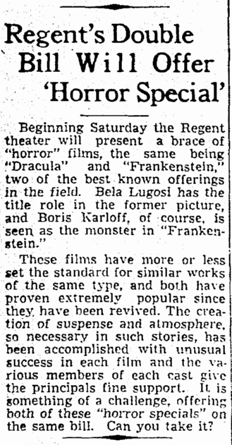 Dracula Frankenstein, The Times-Picayune, February 3, 1939