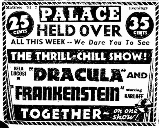 Dracula Frankenstein,Rockford Register-Republic, October 23, 1938
