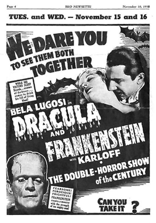 Dracula Frankenstein RKO Newsette theatrer handbill, November, 1938