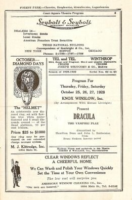 William T. Tilden, Dracula, Court Square Theatre, Springfield, Massachusetts October 25th - 27th, 1928