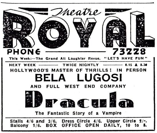 Dracula newspaper advertisement for the Theatre Royal, Portsmouth.