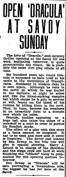 Ben Erway Dracula, Evening Tribune, January 10, 1931