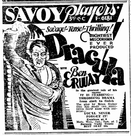 Ben Erway Dracula, Evening Tribune, January 12, 1931