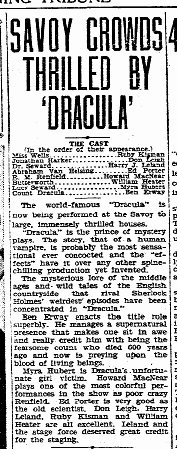 Ben Erway Dracula, Evening Tribune, January 13, 1931